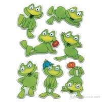 Herma Çocuk Etiketleri Oynar Göz Kurbağalar