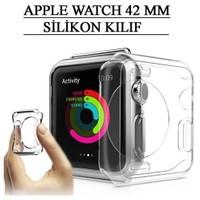 Apple Watch 42 Mm Kılıf Tpu Silikon Tasarım Şeffaf Tempered Cam