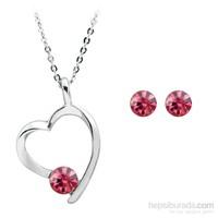 Bayan Lili Zirkon Crystal® Taşlı Kalp Kolye ve Küpe Set