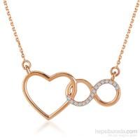 Divas Love Pırlantalı Kalpli Sonsuzluk Altın Kolye