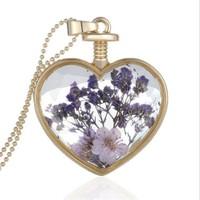 Güven Altın Yaşayan Kolye Kristal Cam İçinde Kurutulmuş Çiçekler Yk48