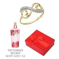 Melis Gold Altın Sonsuz Yüzük Hp0144 + Victoria's Secret Body Mist ile