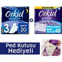 Orkid Fırsat Paketi Infinity Hijyenik Ped Gece 20'li + Günlük Ped 48'li + Ped Kutusu
