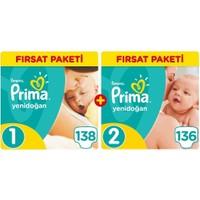 Prima Bebek Bezi Aktif Bebek Fırsat Paketi Yenidoğan 1 Beden 138 Adet + 2 Beden 136 Adet