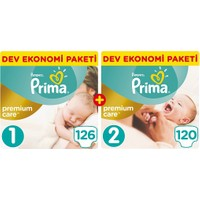 Prima Bebek Bezi Premium Care Fırsat Paketi Yenidoğan 1 Beden 126 Adet + 2 Beden 120 Adet