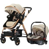 Yoyko Luxury Seyahat Sistem Bebek Arabası 3 İn 1 Kahve Rose