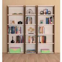 Nur Mobilya 3'lü Arkalıklı Kitaplık Ceviz-Beyaz