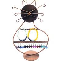 Kedi Figürlü Bakır Küpe Standı