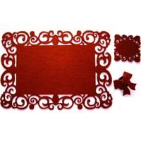 Zeff Tasarım Otantik Dikdörtgen Keçe Amerikan Servis Altlığı Set 6 Kişilik - Kırmızı