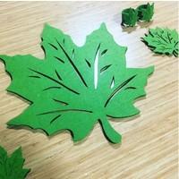 Zeff Tasarım Yaprak Tasarımlı Keçe Amerikan Servis Tabak Altlığı Set 2 Kişilik - Yeşil