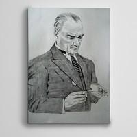 Dekolata Atatürk Siyah Beyaz Kahve Kanvas Tablo Boyut 30 x 40