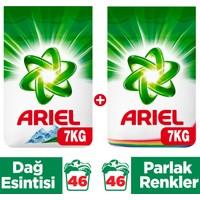 Ariel Toz Çamaşır Deterjanı 7 Kg Dağ Esintisi + 7 Kg Parlak Renkler