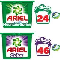 Ariel Pods Sıvı Çamaşır Deterjanı Kapsülü Fırsat Paketi Dağ Esintisi 24 Yıkama + Parlak Renkler 46 Yıkama