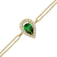 Altınsepeti Yeşil Markiz Taşlı Altın Bileklik As172Bl