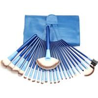 Hannah Mavi 24 Parça Çarpıcı Deri Çantalı Makyaj Fırça Seti