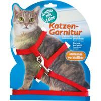 Katzen Katzen Kedi Göğüs Tasması Düz Kırmızı