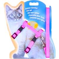 Katzen Katzen Kedi Göğüs Tasması Düz Pembe