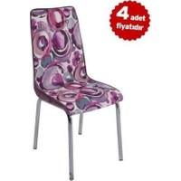 Kristal Masa Monopetli Hayalkadife Kumaş Sandalye 4 Adet Mor