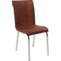Kristal Masa Monopetli Sandalye - Ahşap Desen