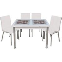 Kristal Masa Yandan Açılır Beyaz Masa - Kahve Çiçek Desen 6 Kişilik