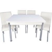 Kristal Masa Yandan Açılır Beyaz Masa 4 Sandalye - Beyaz