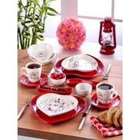 Keramika 2 Kişilik 14 Parça Keyfi Aşk Kalp Kahvaltı Seti
