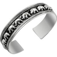 Tevuli 925 Ayar Gümüş Altı Açık Fil Desenli Bilezik Bn09691