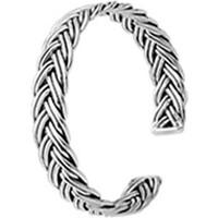 Tevuli 925 Ayar Gümüş Oksitli Altı Açık Örgü Bilezik Bn05104
