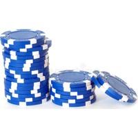 Pusula Oyun Mavi Renk 100 Adet Poker Çipi İ 11,5 Gr