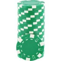 Pusula Oyun Yeşil Renk 100 Adet Poker Çipi İ 11,5 Gr