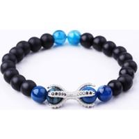La Pescara Gümüş Renk Zirkon Mavi Erkek Doğal Taş Bileklik Blk1107
