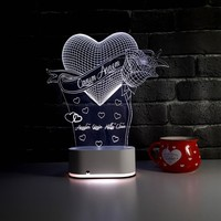Hobimod Lazer İşlemeli 3D 3 Boyutlu 16 Renk Kumandalı Dekoratif Aydınlatma