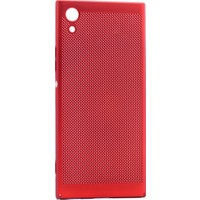 Happyshop Sony Xperia Xa1 Kılıf İnce Delikli Sert Arka Kapak Rubber + Kırılmaz Cam