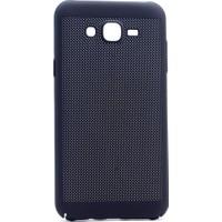Happyshop Samsung Galaxy J7 Core Kılıf Delikli İnce Sert Arka Kapak Rubber + Cam