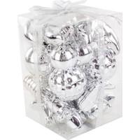 KullanAtMarket Gümüş Simgeler Yılbaşı Ağaç Süs Seti 6 cm 18'li