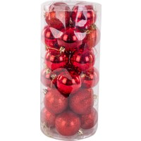 KullanAtMarket Kırmızı Yılbaşı Ağaç Süs Seti 6 cm 24'lü