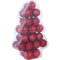 KullanAtMarket Kırmızı Yılbaşı Ağaç Süs Seti 6 cm 34'lü