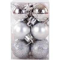 KullanAtMarket Yılbaşı Ağaç Süs Seti Gümüş 3 cm 12'li