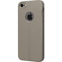 Microsonic Apple iPhone SE Kılıf Suni Deri Dokulu Silikon