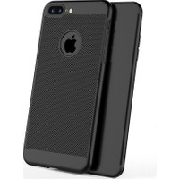 Case 4U Apple iPhone 7 Plus Plus Kılıf Delikli Sert Arka Kapak Siyah
