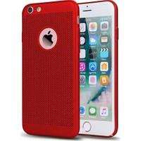 Case 4U Apple iPhone 6 / 6S Kılıf Delikli Sert Arka Kapak Kırmızı*