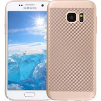 Case 4U Samsung Galaxy S7 Kılıf Delikli Sert Arka Kapak Altın