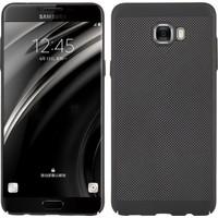 Case 4U Samsung Galaxy C9 PRO Kılıf Delikli Sert Arka Kapak Siyah