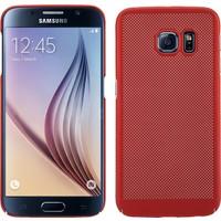 Case 4U Samsung Galaxy S6 Kılıf Delikli Sert Arka Kapak Kırmızı