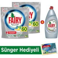 Fairy Platinum Bulaşık Makinesi Deterjanı Kapsülü Limon Kokulu - 60 Yıkama 2'li Paket + Platinum Sıvı Bulaşık Deterjanı Limon 870 ml + Sünger