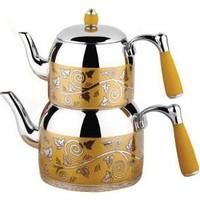 Özkent Armine Mega Desenli Çaydanlık Sarı