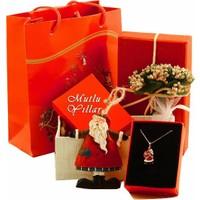 Hayal 925 Ayar Gümüş Kolye Noel Baba Kolye Mutlu Yıllar Hediye Paketi