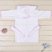 MirDesign Kelebekli İsme Özel Kız Bebek Bornozu