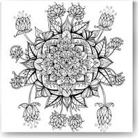 Evdeka Gül Desenli Mandala Kanvas Tablo