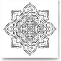 Evdeka Çiçek-27 Desenli Mandala Kanvas Tablo